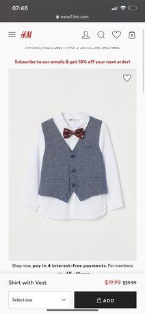 Новый набор , рубашка , жилетка и бабочка h&m , 4-5 лет