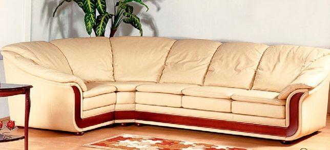кожаный угловой диван Оникс, кресло, б/у.