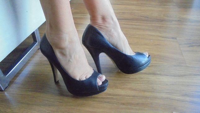 Esprit,open toe, obcas, szpilki, skóra naturalna r.36