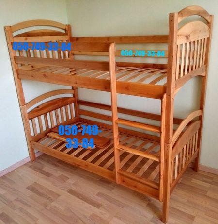 Кровать двухъярусная с ольхи *Иринка*. На комплект есть акция.