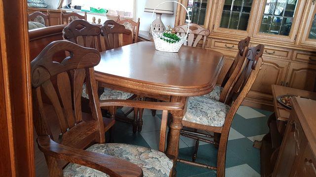 Stół dębowy rozkładany z 6krzesłami