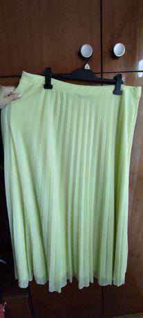 plisowana żółta długa spódnica, r. 48