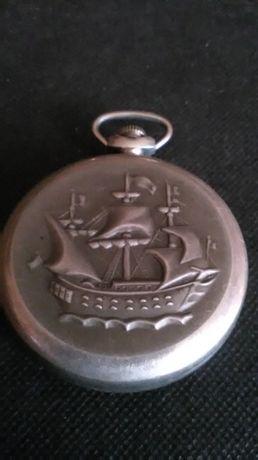zegarek kieszonkowy Molnija -statek antyk srebro-alpaka.