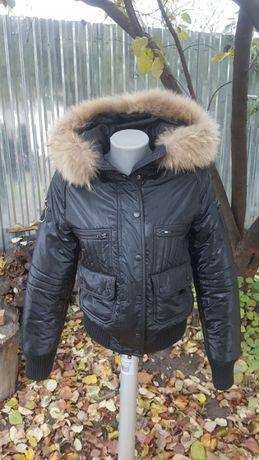 Италия короткий пуховик под кожу натуральный мех енот куртка зимняя