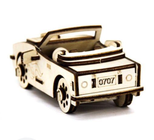 Механический деревянный 3D пазл SUNROZ Автомобиль Кабриоле