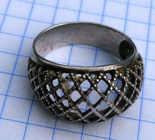 Кольцо сеточка СССР серебро 875 проба звезда