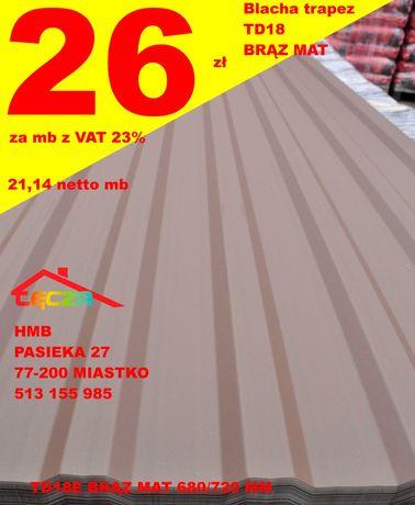 TanieDachy Blacha Trapez TD 18 BRĄZ /Grafit 7016 MAT Antracyt- od ręki