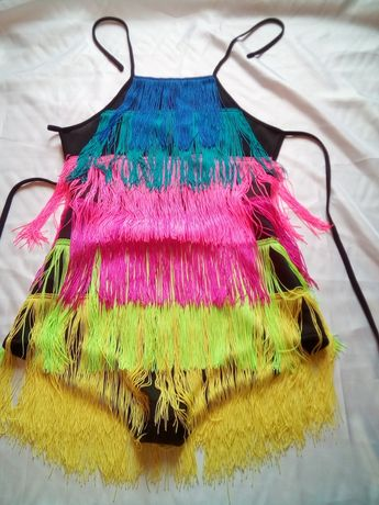 Купальник-платье с бахромой для танцев. Самба, Латина и др.