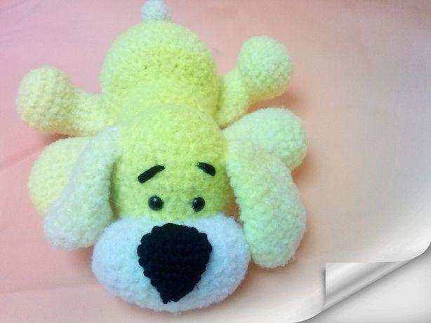 вязанная мягкая игрушка, вязанная собака.100% ручная работа