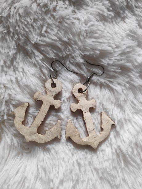 Kolczyki drewniane kotwice ręcznie robione