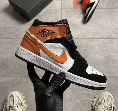 Женские Кроссовки Nike Air Jordan 1 Black White Orange 36-40 / Найк Аи