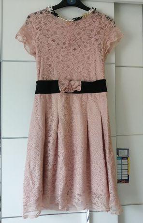 Cudna sukienka z kolią, koronkowa r. 36 S włoska