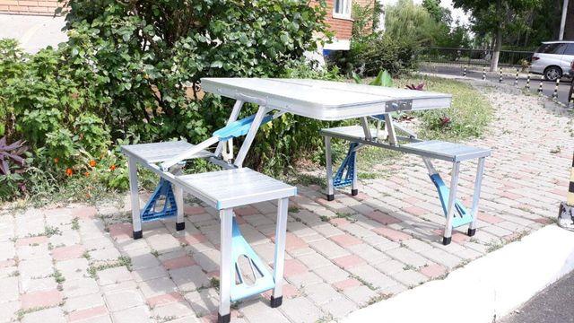 стол для сада, Туристический раскладной со 4 стульями