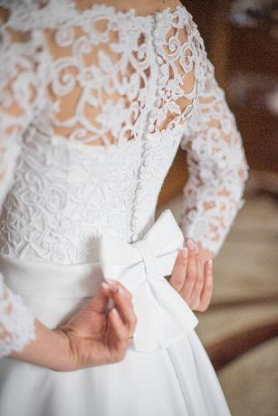Śliczna, koronkowa, biała suknia ślubna +dodatki gratis