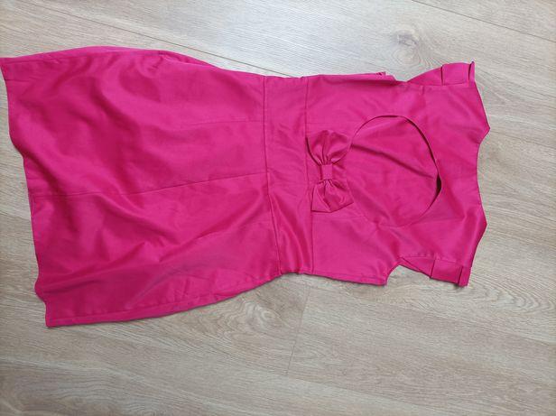 Sukienka malinowa różowa tył kokarda prosta idealna