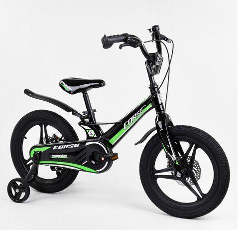Двухколесный велосипед 14,16,18 дюймов, дисковые тормоза, CORSO, КОРСО
