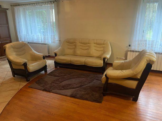 Skórzany komplet wypoczynkowy sofa + 2 fotele stan bardzo dobry