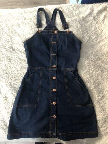 Jeansowa sukienka ogrodniczka H&M r. 36