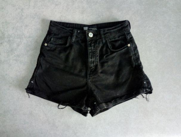 Jeansowe spodenki z wysokim stanem Bershka szorty