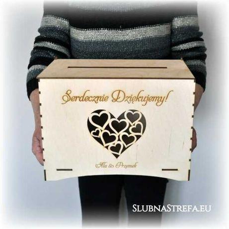 Skrzynka na koperty pudełko na koperty ślub drewno