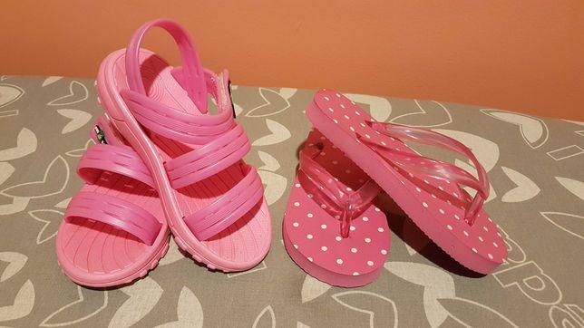 Klapki i sandałki dziewczęce 24 i 25 różowe Nowe