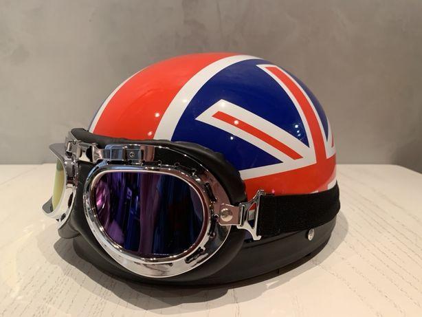Мотошлем открытый с кожанными ушами/Шлем для мотоцикла/Мото шлем/Ретро