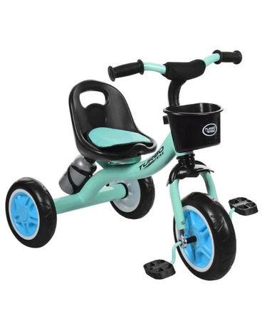 Велосипед трёхколёсный детский ГОЛУБОЙ цвет, ЕВА колеса