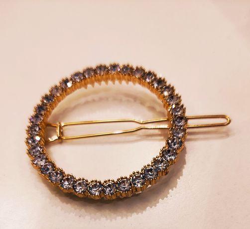 Piękne cyrkoniowe złote spinki do włosów 4cm