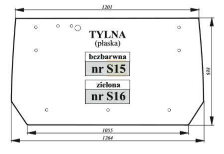 Szyba klapy tylnej pasuje do Zetor PROXIMA/FORTERRA