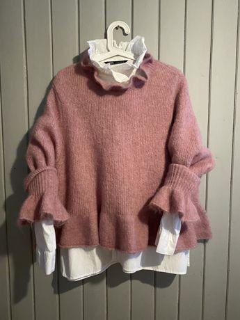 Zara pudrowy roz, sweter z moheru r.L