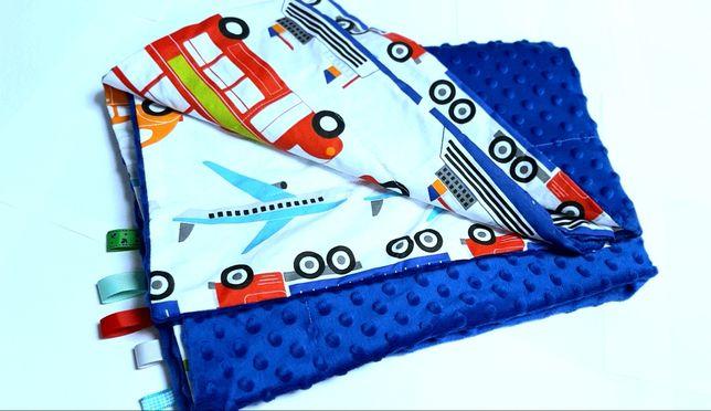 Wyprawka kocyk minky dwustronny miekki niebieski+pojazdy