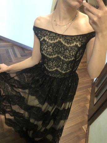 Вечечнее кружевное черное бежевое платье в пол выпускное бальное