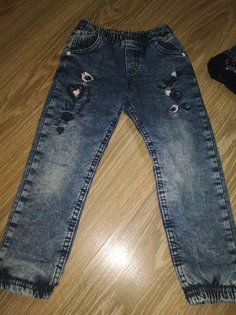 Теплые  зимние штаны, джинсы на  девочку 2-3 года
