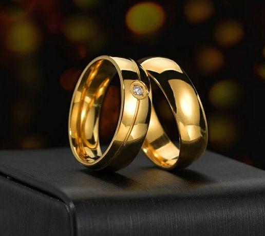 Para Wyjątkowych Złotych Obrączek Ślubnych