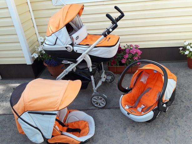 Автокресло Chicco коляска 3 в 1 оранжевая с серым. Автолюлька