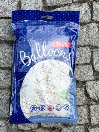 Balony 30cm pastelowe białe w kropki
