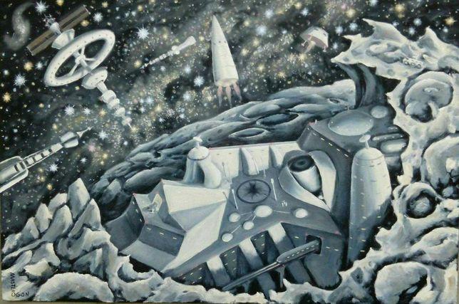 Картина маслом про космос 90 × 60 Город космонавт Илон Маск