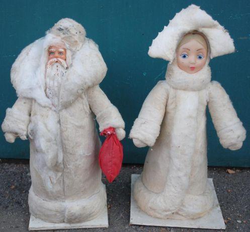 Дід Мороз і Снігурочка з горища. Ватні, радянські.