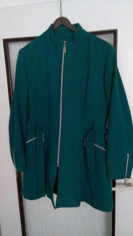 Elegancka dłuższa kurtka, płaszczyk zielony damski rozmiar M/L jesień