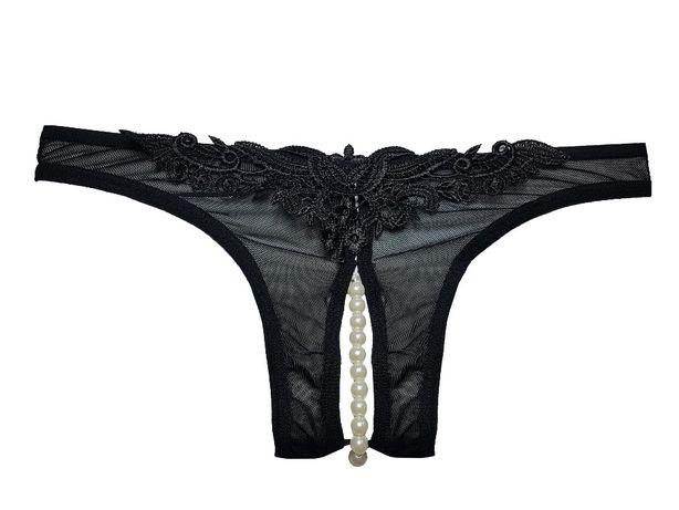 Majtki z dziurką i perełkami FIGI erotyczne PERŁY czarne
