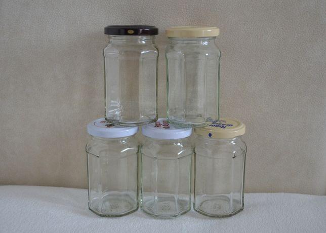 Ozdobne ośmiokątne słoiki z nakrętkami słoik 235 ml 20 szt