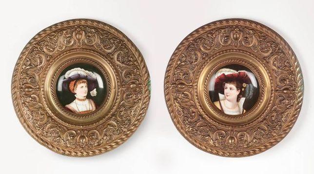 2 Talerze Renesans Miedź Porcelana Portret XIX w.