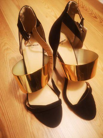 Buty damskie sandały piękne czarno złote. Szpilki