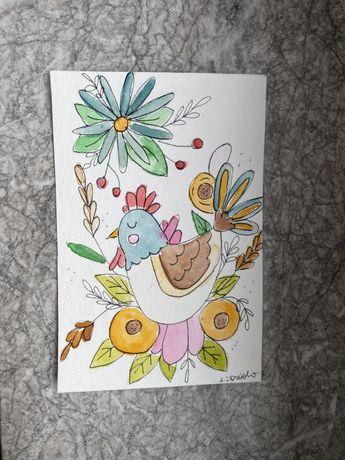 Kartka okolicznościowa ludowe wzory kurka wielkanoc handmade