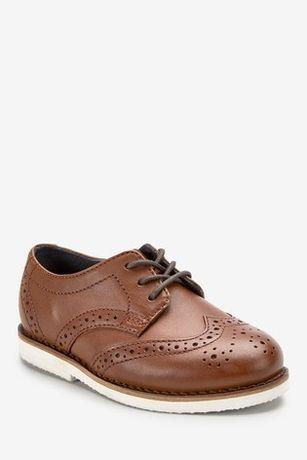 Коричневі шкіряні туфлі-броги фірми Next
