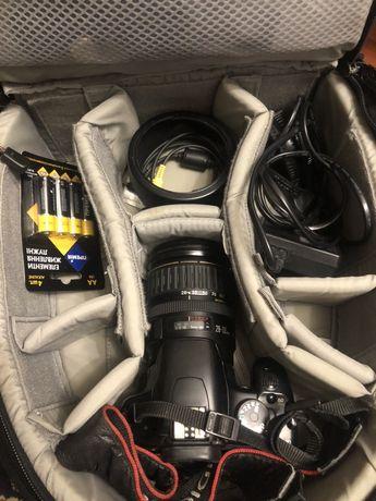 Canon 450d + объектив canon 28-135 mm + рюкзак lowepro