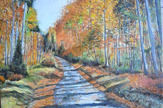 Obraz olejny pejzaż jesienny
