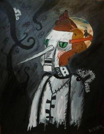 Obraz olejny na plotnie SPACER Z LIZAKIEM abstrakcja