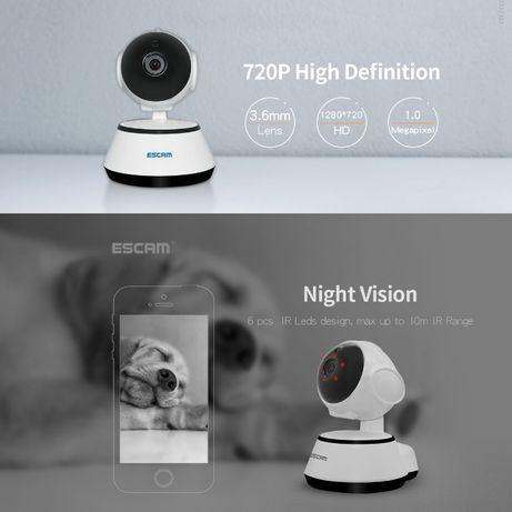 Camera Vigilância ESCAM Visao Noturna 720P Wireless Rotativa - NOVO