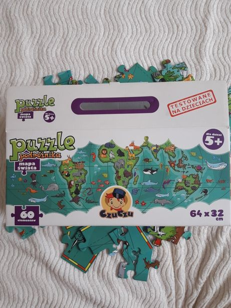 Puzzle Czuczu - mapa świata, 60 elementów, 64x32 cm, dla dzieci 5+